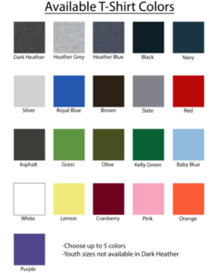 Standard tshirt Color Options
