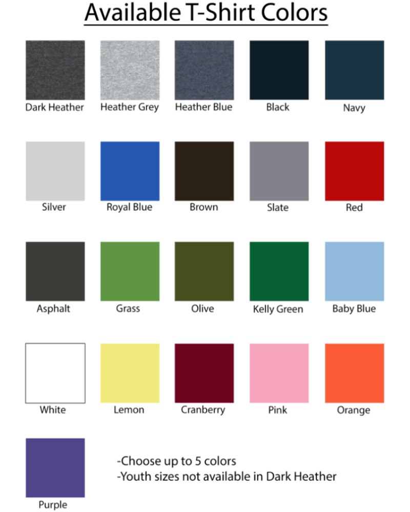 Standard tshirt Color Options